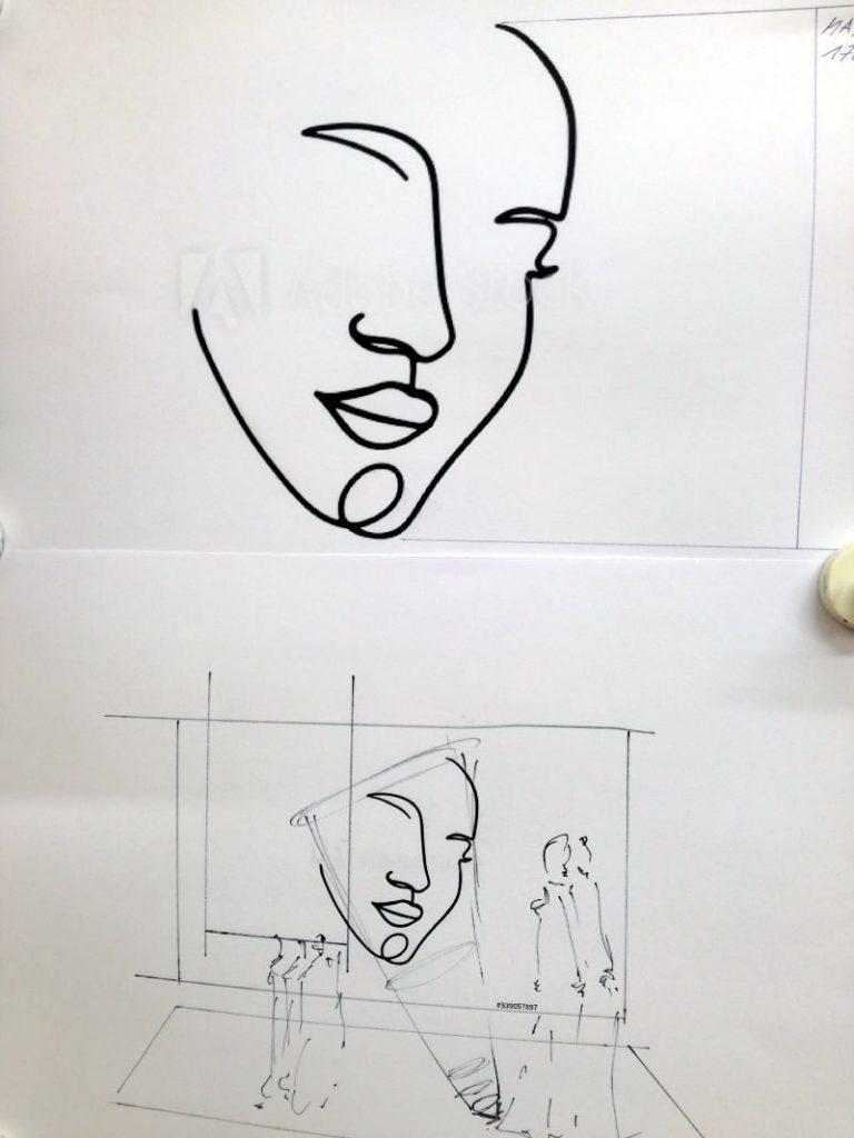 """Skizze der Schaufenstergestaltung """"That´s me"""""""